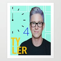 tyler oakley Art Prints featuring Time 4 Tyler Oakley  by Coyvan