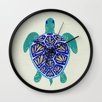 sea turtle Wall Clocks featuring Sea Turtle by Cat Coquillette