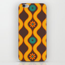 1970's Design Brown Orange Blue iPhone Skin
