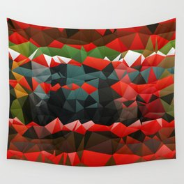 Red Green Quilted Pattern Design Wall Tapestry