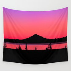 Pink Sunset Silhouette - Mt. Redoubt, Alaska Wall Tapestry