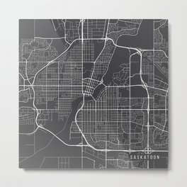 Saskatoon Map, Canada - Gray Metal Print