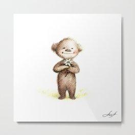 Teddy Bear with Daisy Metal Print