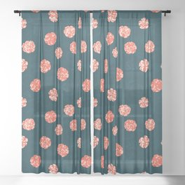 Spotty floral pattern on navy Sheer Curtain
