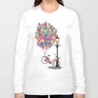 brompton Long Sleeve T-shirts featuring Love to Ride my Bike with Balloons even if it's not practical. by Wyatt Design