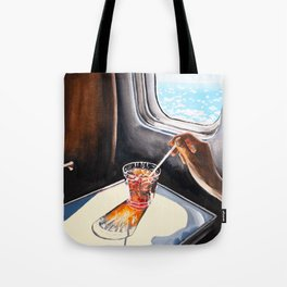 Glass in Airplane | Retro Mid Century | Mad Men Painting Tote Bag