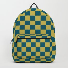 Dark Yellow and Tropical Dark Teal Inspired by Sherwin Williams 2020 Trending Color Oceanside SW6496 Small Checker Board Pattern Backpack