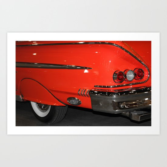 1958 Orange Chevrolet Impala  Art Print