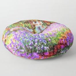 Monets Garden in Giverny Floor Pillow