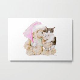 Christmas cuteness: Kitten and Teddy Bear in Santa Hat Metal Print