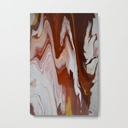 Red Burgundy Fluid Liquid Marble Flow Painting - Lava Flow II Metal Print