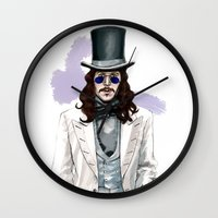 dracula Wall Clocks featuring Dracula by Myrtle Quillamor