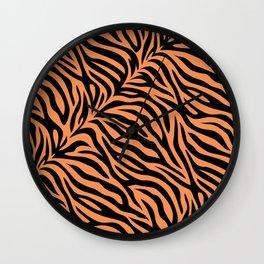 Modern tiger skin stripe illustration - orange and black Wall Clock
