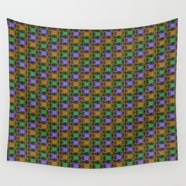 K115 Purple, Gold and Green Stamp Pattern Design Wall Tapestry