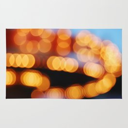 Abstract bokeh night lights Rug