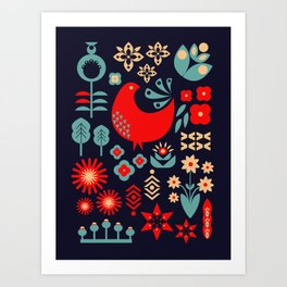 Merry Folk Holidays Collection - red&blue Art Print