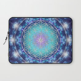 Flower Of Life Mandala Fractal turquoise Laptop Sleeve