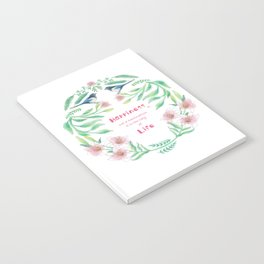 Happiness - Botanic bird water lily - Green, pink - Circle Notebook