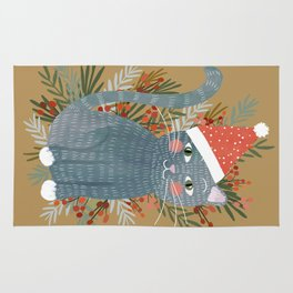 Blue Cat cute christmas xmas tree holiday funny cat art cat lady gift unique pet gifts Rug