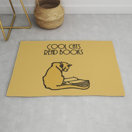 Cool cats read books Rug