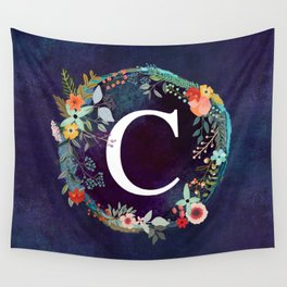 Personalized Monogram Initial Letter C Floral Wreath Artwork Wall Tapestry