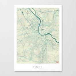 Basel Map Blue Vintage Canvas Print