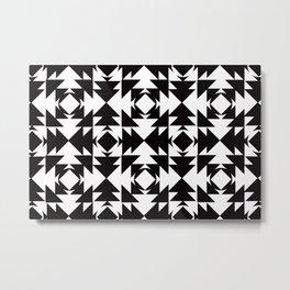 Modern Aztec Black & White Metal Print