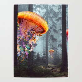 ElectricJellyfish Worlds in a Forest Poster