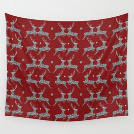 Holiday Silver Sparkle Reindeer Textile Wall Tapestry