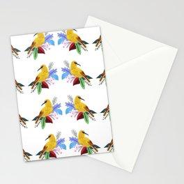 Yellow bird pattern Stationery Cards