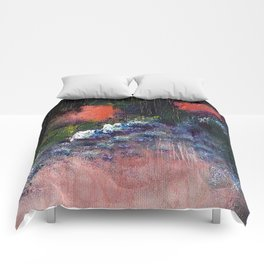 Poppy - Mixed Media Acrylic Abstract Modern Art, 2009 Comforters