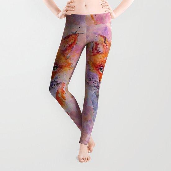 Watercolor colorful Fox Leggings