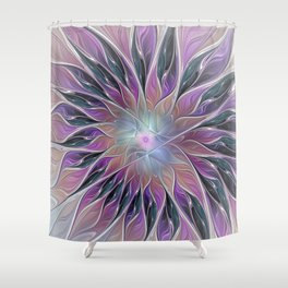 Fantasy Flower, Colorful Abstract Fractal Art Shower Curtain