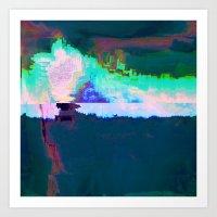 18-23-46 (Skyline Cloud Glitch) Art Print