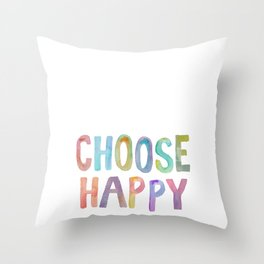 """Inspirational Quote """"Choose Happy"""" Watercolor Letters Typography Nursery Print Motivational Quote Throw Pillow"""
