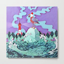 Seagull and the lighthouse Metal Print