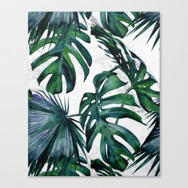 Tropical Palm Leaves Classic on Marble Canvas Print