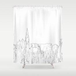 Galway, Ireland Skyline B&W - Thin Line Shower Curtain