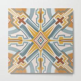 Santa Fe Earthy Tile Pattern Metal Print
