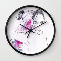 cara delevingne Wall Clocks featuring Cara Delevingne by Megan Sheridan
