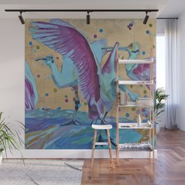Pink Ibis Rain Wall Mural
