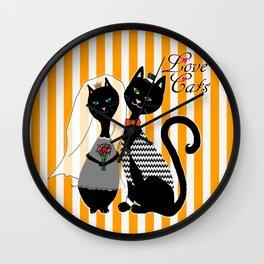 Love Cats Wedding Wall Clock