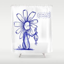 """It's Just Meat"" Flowerkid Shower Curtain"