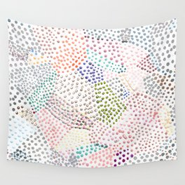 Mermaid Rainbow Dots Colorful Abstract Gems Wall Tapestry