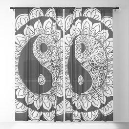 Yin Yang Mandala Black White Sheer Curtain