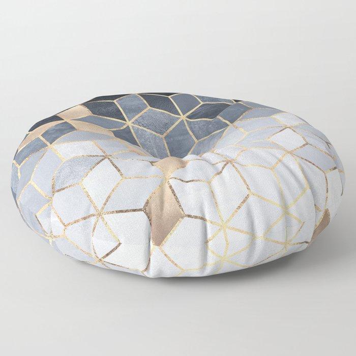 Soft Blue Gradient Cubes Floor Pillow