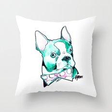 Bow Tie BostonTerrier Throw Pillow