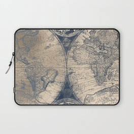 Antique World Map White Gold Navy Blue by Nature Magick Laptop Sleeve
