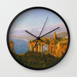 William Stanley Haseltine - Ruins Of The Roman Theatre At Taormina  Sicily Wall Clock