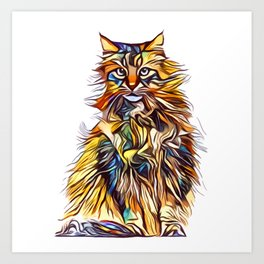 Mixed Up Maine Coon Art Print